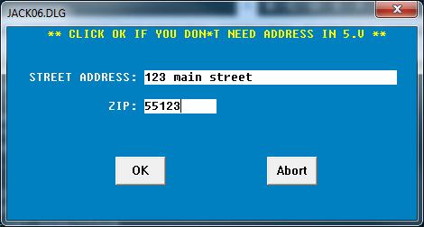 Jack Address Entry